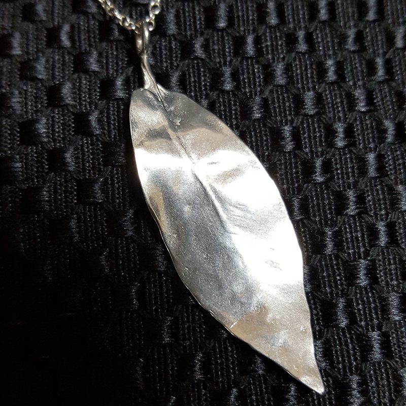 Cast Silver or Bronze Tea-Leaf Pendants and Earrings
